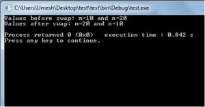 Output of Call by Value Program