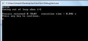 Output of Break Statement in C Programming