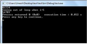 Output of break in C Programming-II