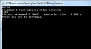 Output of Continue in C Programming