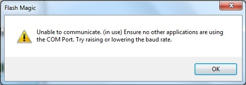 Unable to Communicate Flash Magic