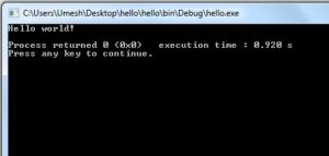 output from hello.c program